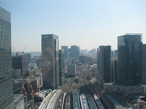 The view over rail lines heading away from Tokyo station
